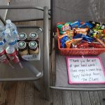 snacks and drinks with a note